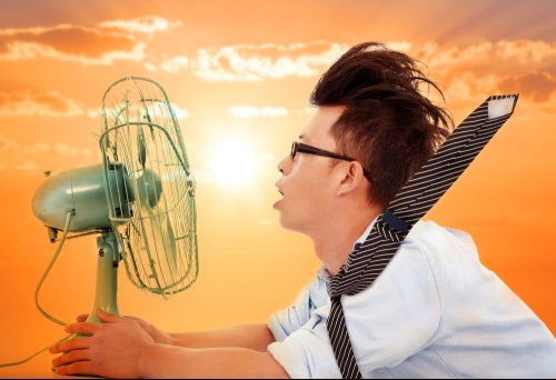 Profile of man with glasses holding fan up to his face, his tie blowing out behind him.